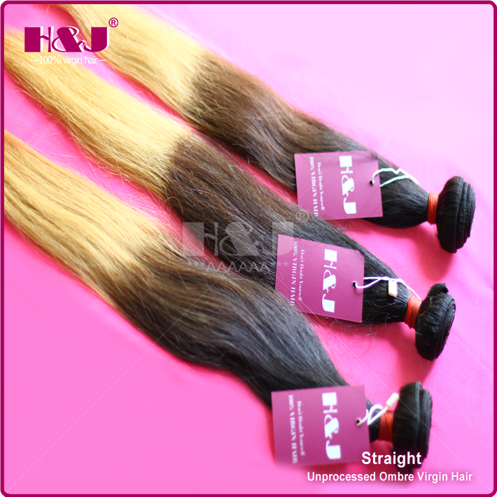 HJ Virgin remy Indian ombre weave hair extension for sale