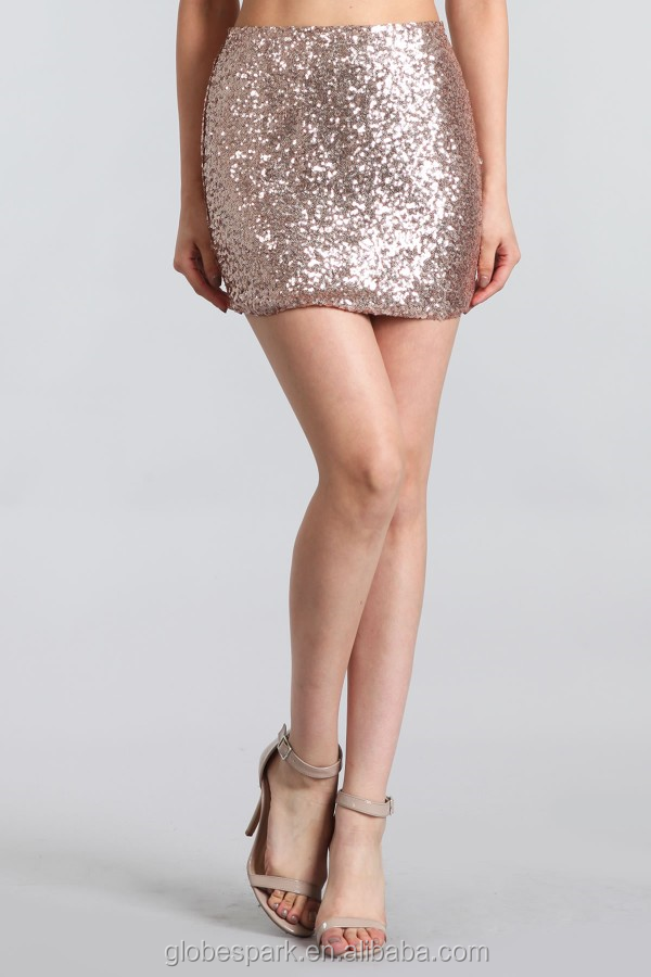 Bear Dance 100% Poly sequin mini pencil skirt with elastic waist