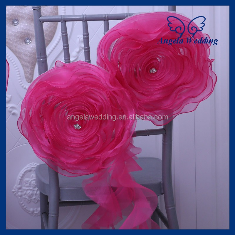 CH091L Nice wedding decorative chair sash organza chair flower with crytsal