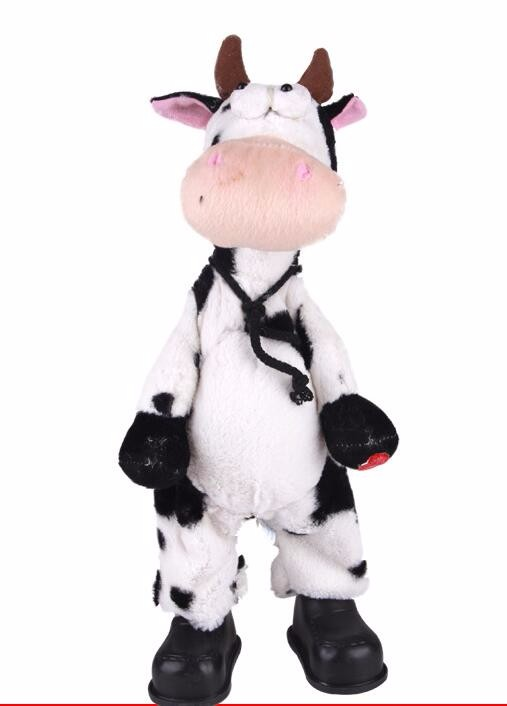 Happy singing plush cow toy