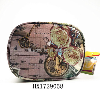 Flower printed pvc Coin Purse with zipper