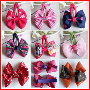 Wholesale 2015 new design ribbon bow with metal hair clip