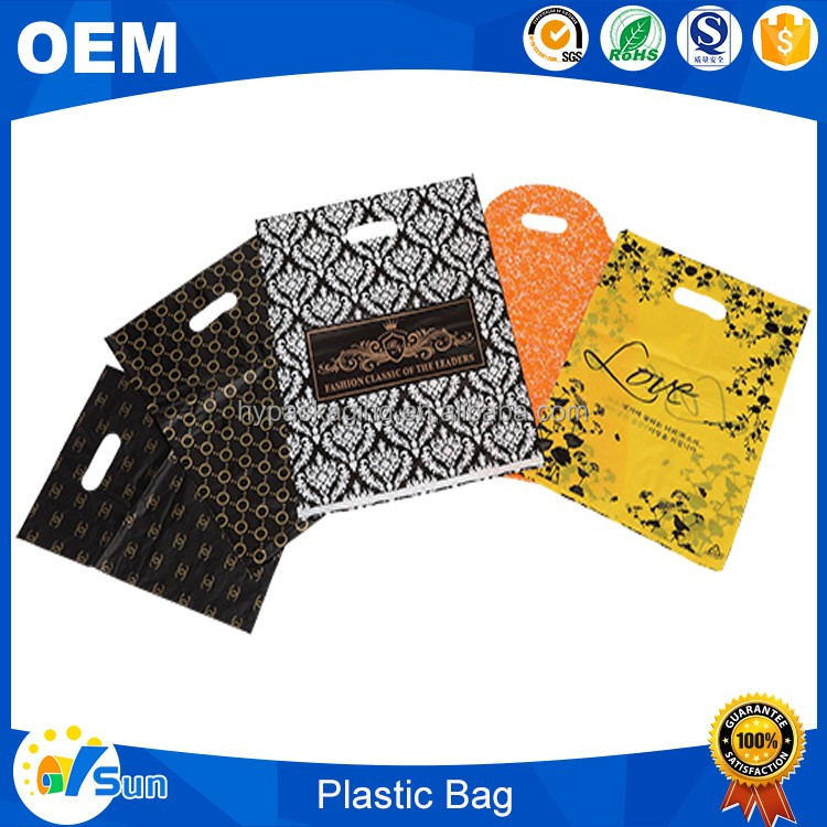 Alibaba Recommended Custom Design Logo Printing PE Patch Handle Biodegradable Shopping Plastic Bag
