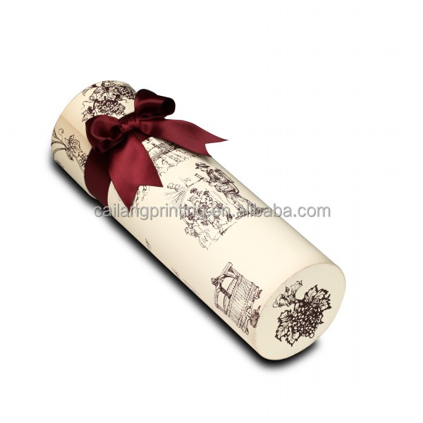 round tube paper mache wine bottle gift box with ribbon
