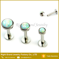316L Surgical Steel Internally Threaded Ear Tragus Synthetic Fire Opal Monroe Lip Ring