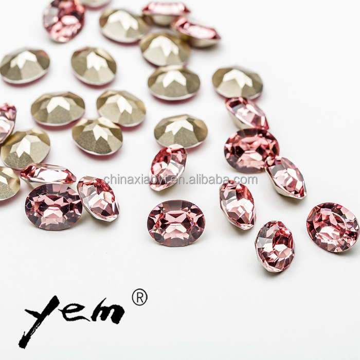 Free Sample Rose Red Color All Size Clear Glass Rhinestone Precious Stone