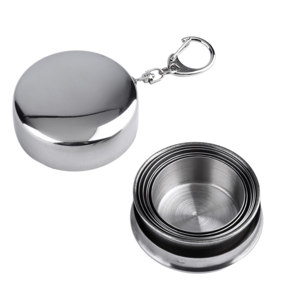 75ml Stainless Steel Portable Outdoor Travel Camping Folding Collapsible Cup