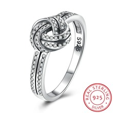 2017 Elegant 925 sterling silver rings crystal knot ring
