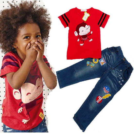 children monkey red t shirt and jeans 2 pcs set