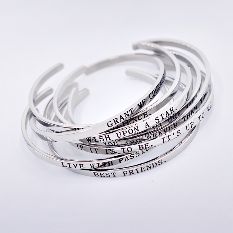 Fashion Message Bangle Jewelry Cuff Stainless Steel Expandable Engraved Bracelets Wholesale