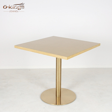 Top Quality Solid Wood Stainless steel leg Square restaurant table for sale