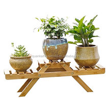 Bamboo Plant Stands Flower Pot Shelf Bench