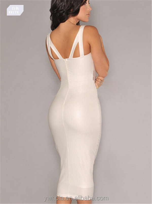 2016 new sexy women white evening dress cocktail party clubwear dress 2 pcs wrap bandage halter dress