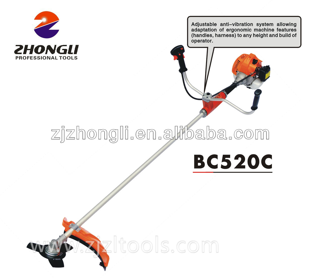 52cc Zhongli BC520C New Type Brush Cutter with Anti-vibration System