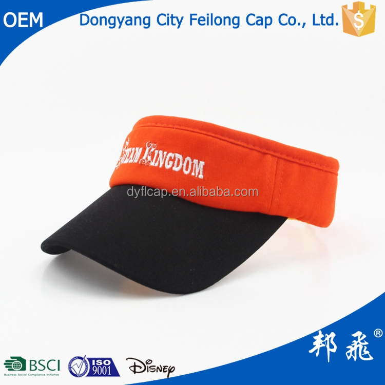 beautiful sun visor for adults and children with embroidery logo