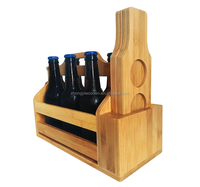 china factory BSCI Wooden bar six pack beer caddy carrier tote holder with paddle set