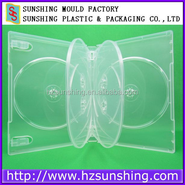 Eco-friendly clear 22mm 6 dvd case,22mm dvd case for 6discs