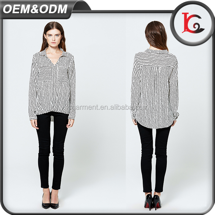 good quality fashion black and white stripe images v neck long sleeve chiffon simple design lady blouse
