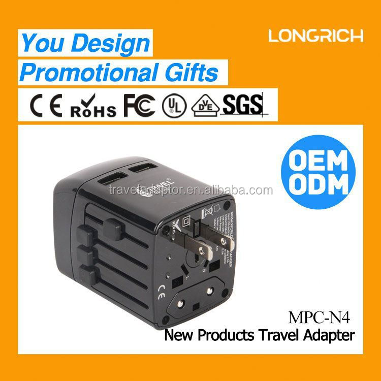 2014 LONGRICH universal CE&ROHS top sell worldwide ac fuse plug travel adaptor(MPC-N4)