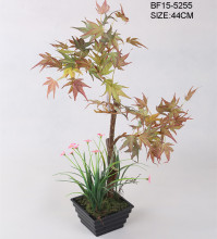 Potted landscape Artificial red maple tree with plastic pot