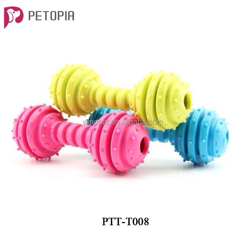 TPR Barbell Spiky Ring Pet Dog Chew Toy for Teeth Training