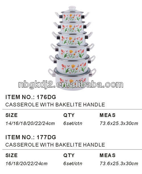 5pcs enamel casserole sets with bakelite handle