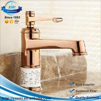 Luxury Rose Gold copper blue and white porcelain body brass Single hole single handle faucet HS-11