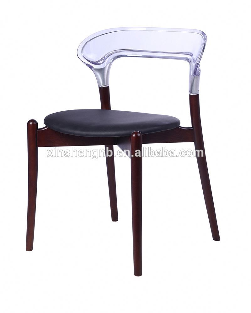 wood dining chair with plastic back and PU seat