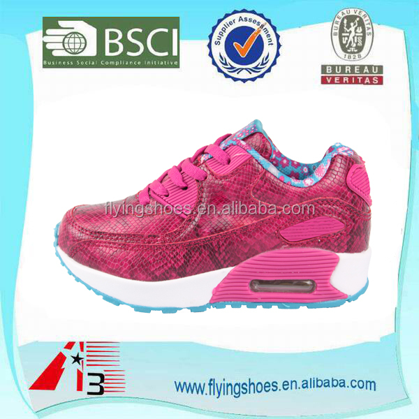 pink color snake leather pu kids running shoes girls