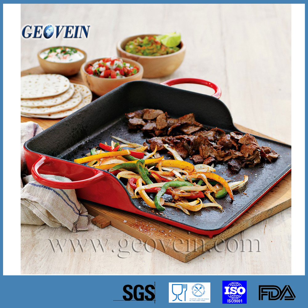 non-stick Rectangular Cast Iron Grill Plate with handles