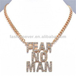 "Goldtone Crystal Rhinestone ""FEAR NO MAN"" Chunky Chain Pendant Charm Necklace Jewelry"