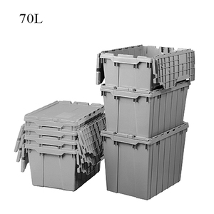 Heavy duty plastic box ,attached lid container for sale