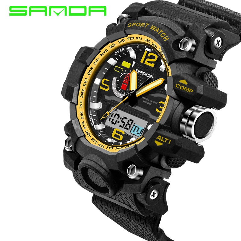 Watch SANDA 732 S shock 55mm Big Dial military sport watches relojes hombre PU strap waterproof dual time digital watch