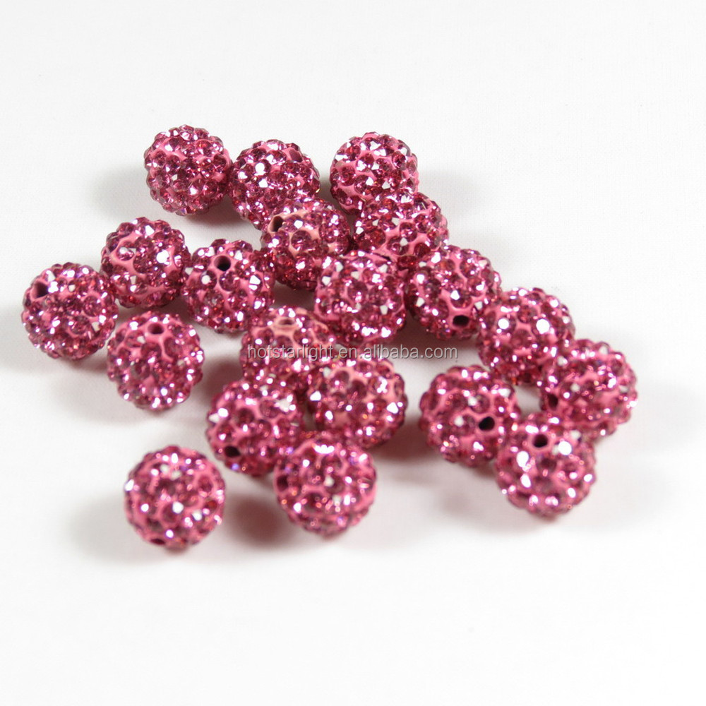 Popular in europe market wholesale 10mm lt rose pink color disco ball shamballa beads