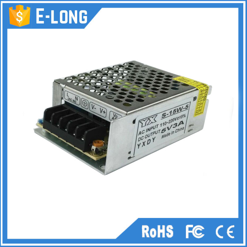 Led lighting application 5v 3a dc power supply 15w switching adapter