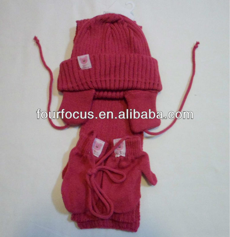 Baby knitted hat scarf gloves set/knitted baby set