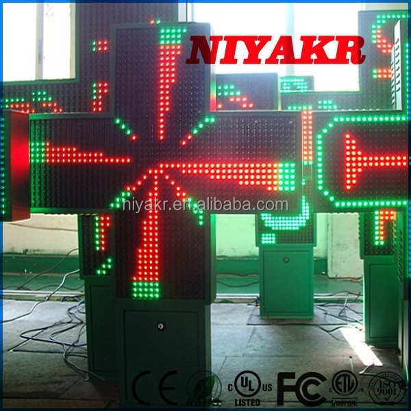 Niyakr Factory Price 10Mm.16Mm20Mm.25Mm Pixels Outdoor Waterproof 3D Led Pharmacy Cross Full Color Display With CE,ROHS,UL