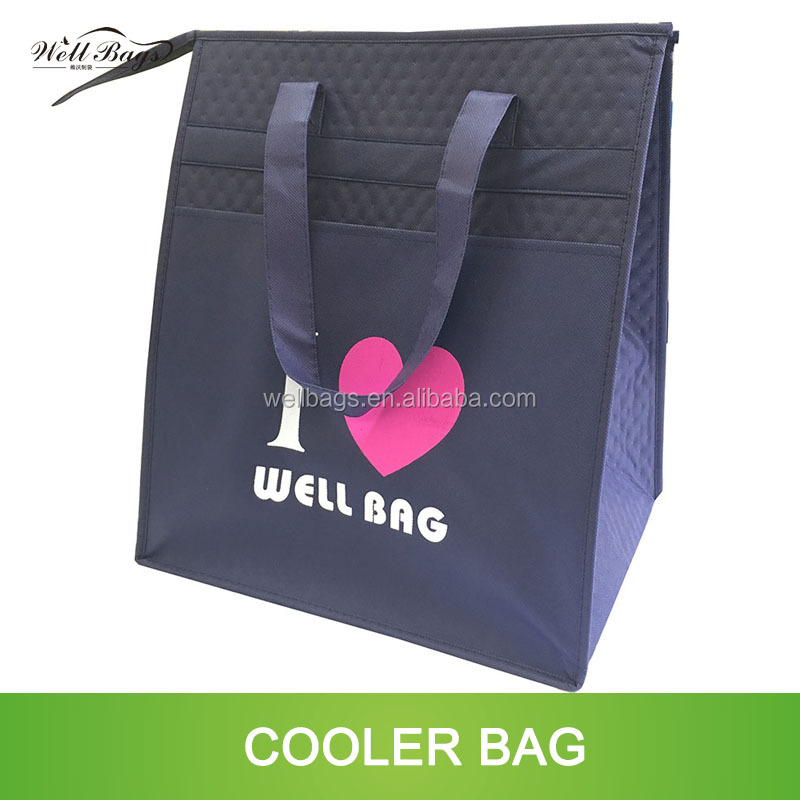 customized triangle zipper embossed blue non woven insulate cooler bag with hole alibaba trade assurance