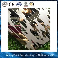 Mirror+Etched+Titanium Coated Decorative Stainless Steel Sheet