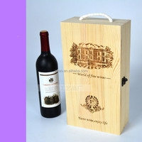 Handmade Vineyard Design Natural Pine Wood Crate 2 Wine Bottle Travel Storage Box Carrying Display Case