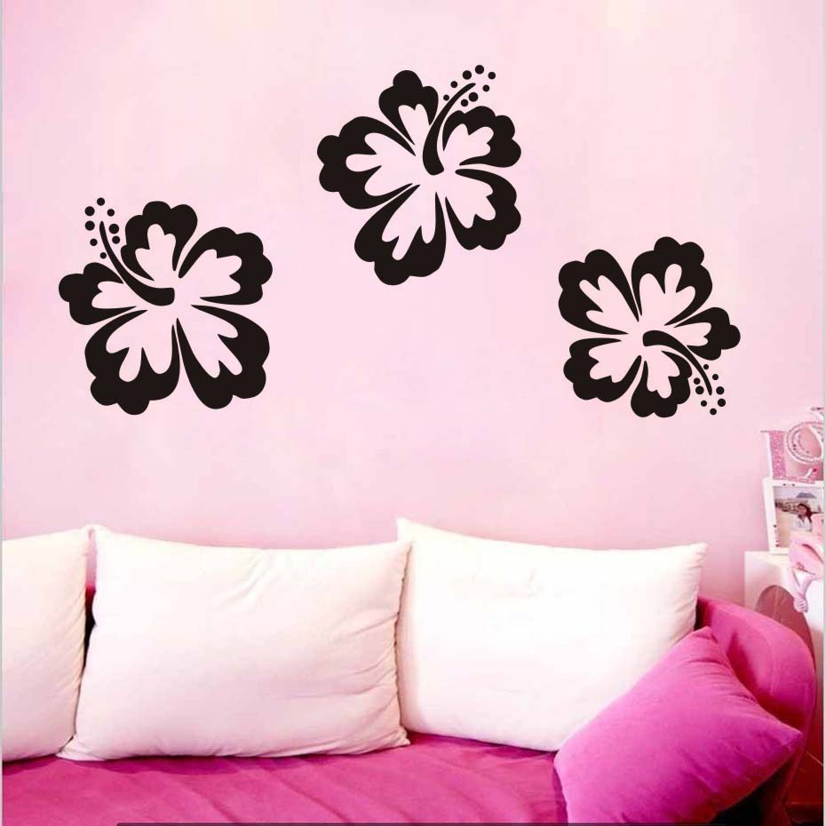 Wall Art Decal Stickers Quality New Hibiscus flowers