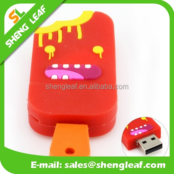 different colors ice cream shape pvc rubber usb flash drive for gifts
