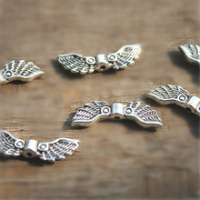 Angel wing charm spacer beads antique silver tone 16x5mm