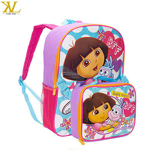 Disny audit Dora kid school backpack with detachable lunch bag,Dora cartoon school bag