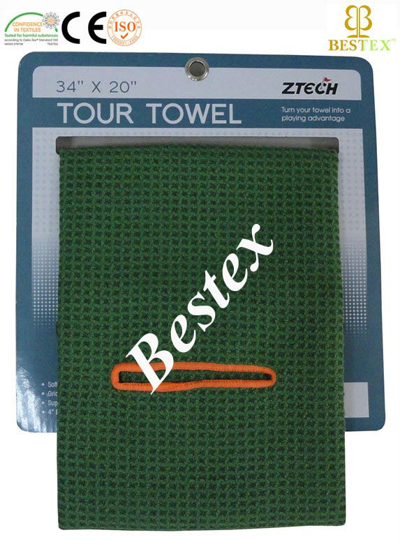 Wholesale Cheap Green Sports Microfiber Woven Waffle golf Towels