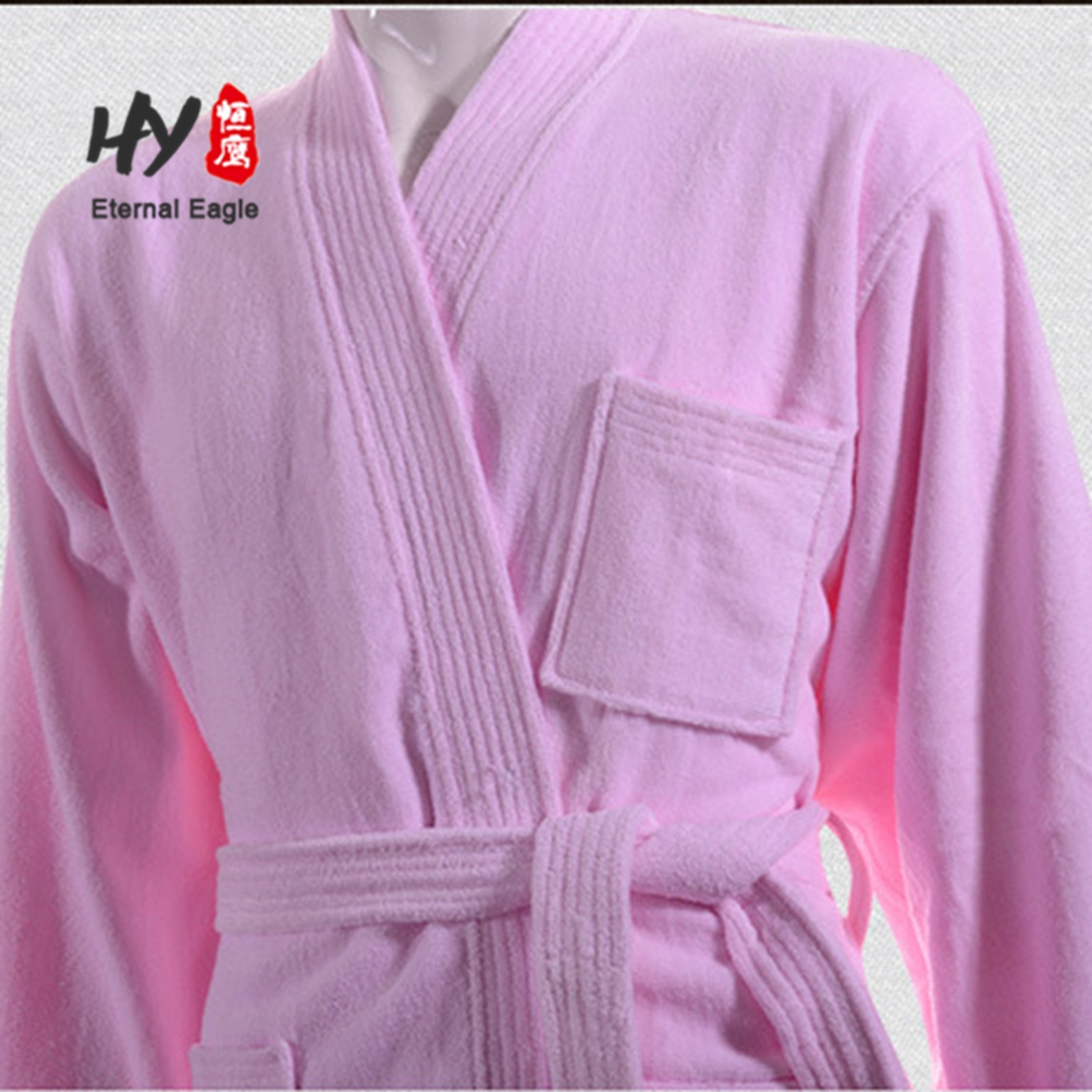 Star hotel senior custom 100%cotton cut cashmere robe