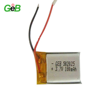 502025 3.7v 180mah lipo battery, li-polymer 3.7v 180mah for digital products