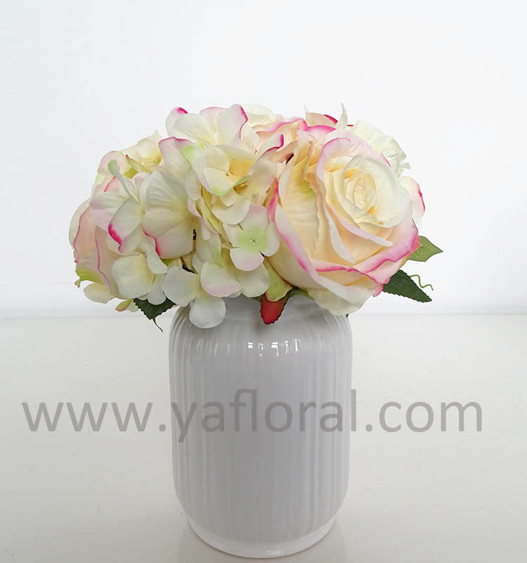 Real Looking Artificial Flower Bouquets Rose Mixed Hydrangea Dried ...