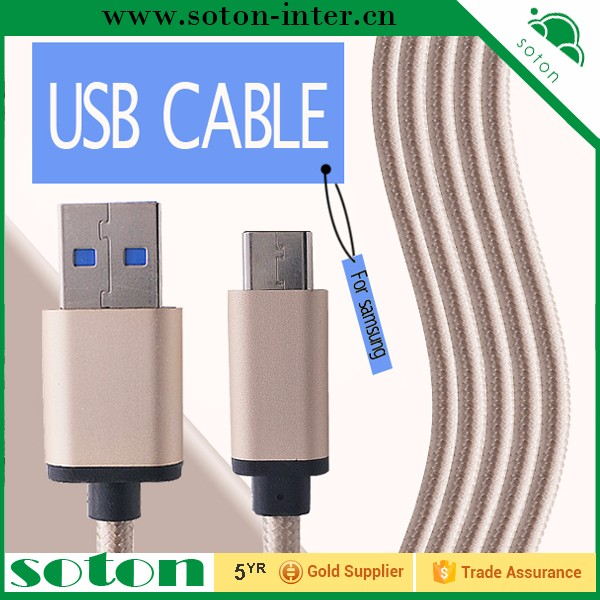 Nylon material 1m usb c cable to usb 3.0 cable for samsung galaxy note 7