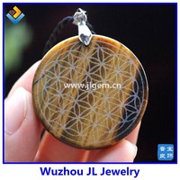 Wholesale Fashion Jewelry Green Aventurine Natural Quartz Pendant Carved Healing Flower of Life Pendant